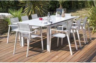 Ensemble table aluminium blanc et 10 fauteuils assortis