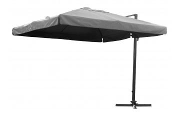 Toile + mat Parasol carré 3 x 3 m avec pied excentré gris P-04