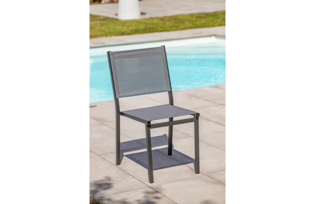 Chaise de salon de jardin empilables en aluminium et textilène DCB Garden TOLEDE – anthracite