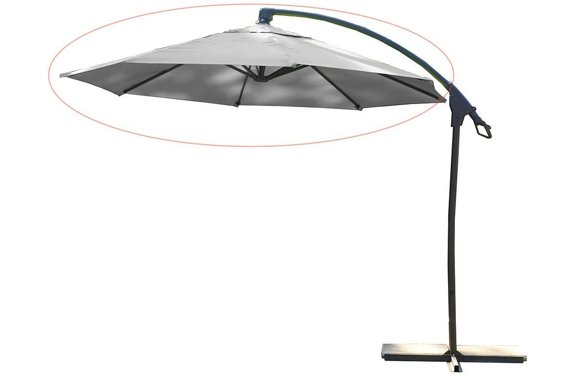 Toile + mat Parasol aluminium avec pied excentré gris clair