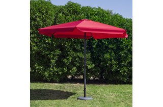 Parasol de jardin 3m droit à manivelle ROUGE Hevea