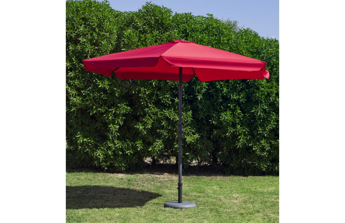 Parasol de jardin haut de gamme 3m droit à manivelle ROUGE Hevea