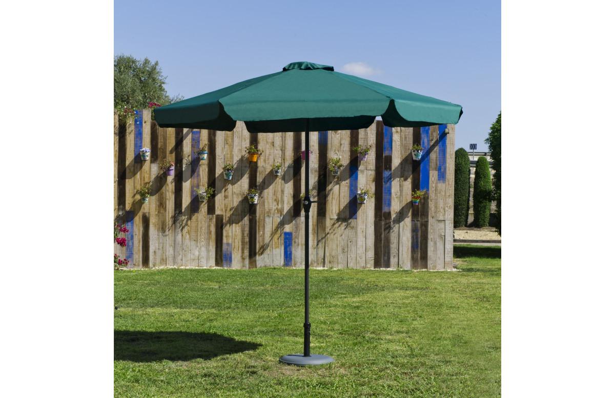Parasol de jardin haut de gamme 3m droit à manivelle VERT Hevea