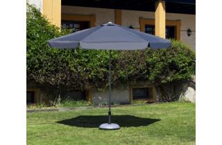 Parasol de jardin haut de gamme 3m droit à manivelle GRIS Hevea