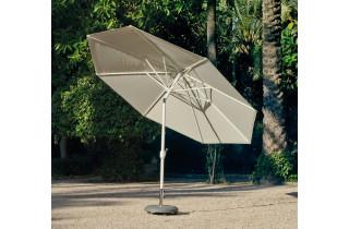 Parasol de jardin 3m50 droit inclinable à manivelle BLANC Hevea