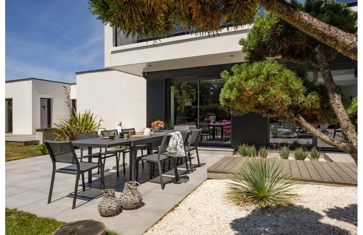 Ensemble table et chaises de jardin en aluminium 8 personnes DCB Garden COPENHAGUE