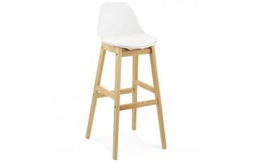 Tabouret de bar assise blanche et pieds en bois - Elody