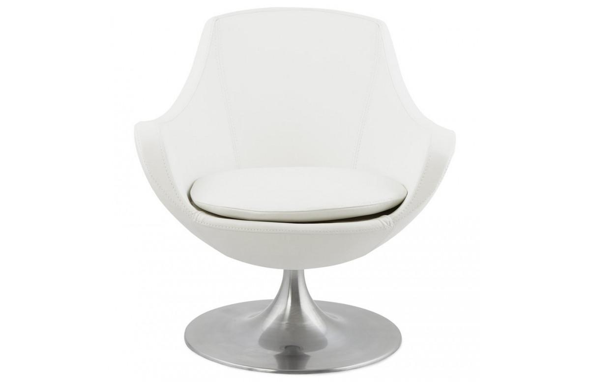 Fauteuil modulable habillé en simili cuir blanc - Raoul