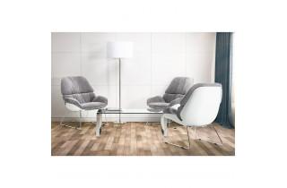 Fauteuil lounge design en tissu gris clair - Sella