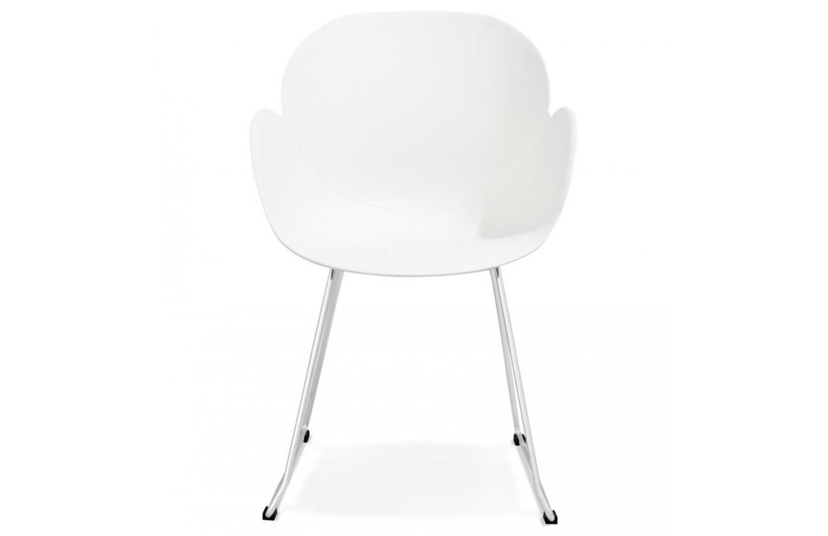 Chaise de couleur blanche et pieds chromés - Testa