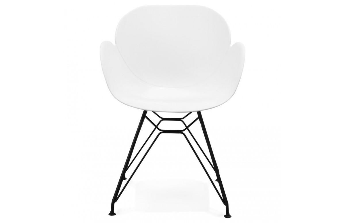 Chaise blanche pieds style Eiffel - Umela