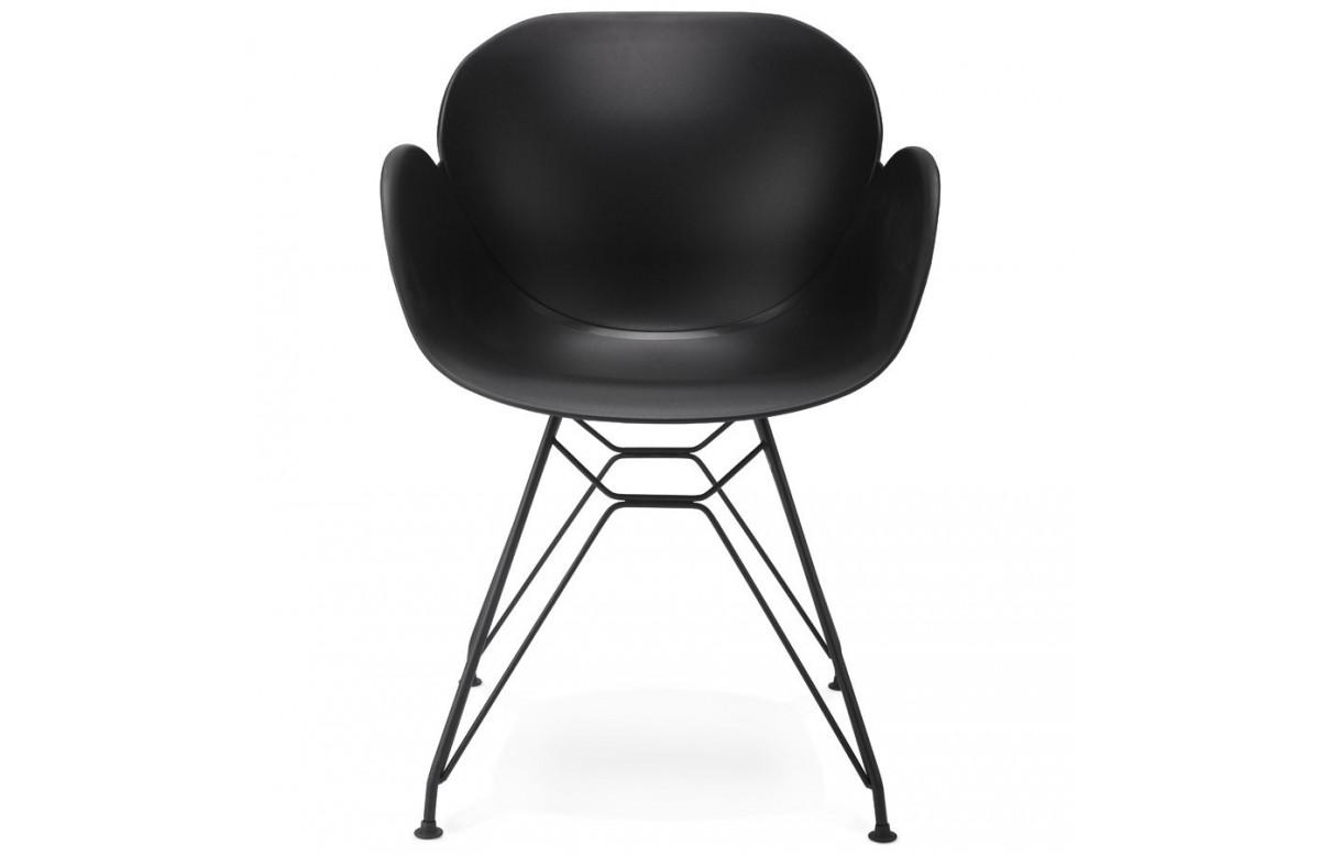 Chaise noire avec pied Eiffel élegant - Umela