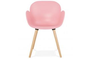 Chaise moderne de couleur rose et pieds en bois - Sitwel