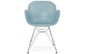 Chaise bleu ciel pieds Eiffel en métal - Chipie