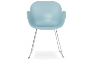 Chaise bleu pieds fins chromés - Testa