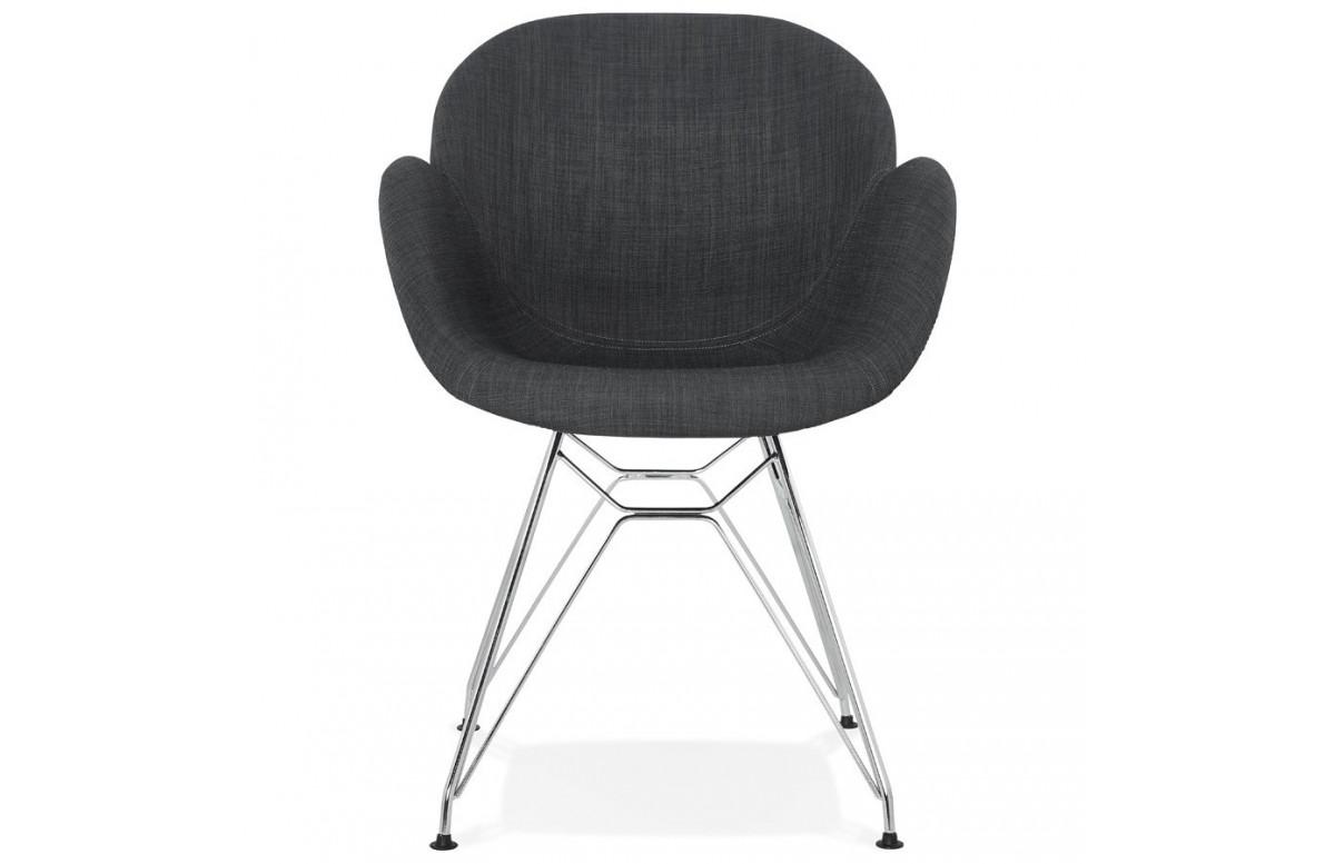Chaise en tissu pieds métal chromés - Alix