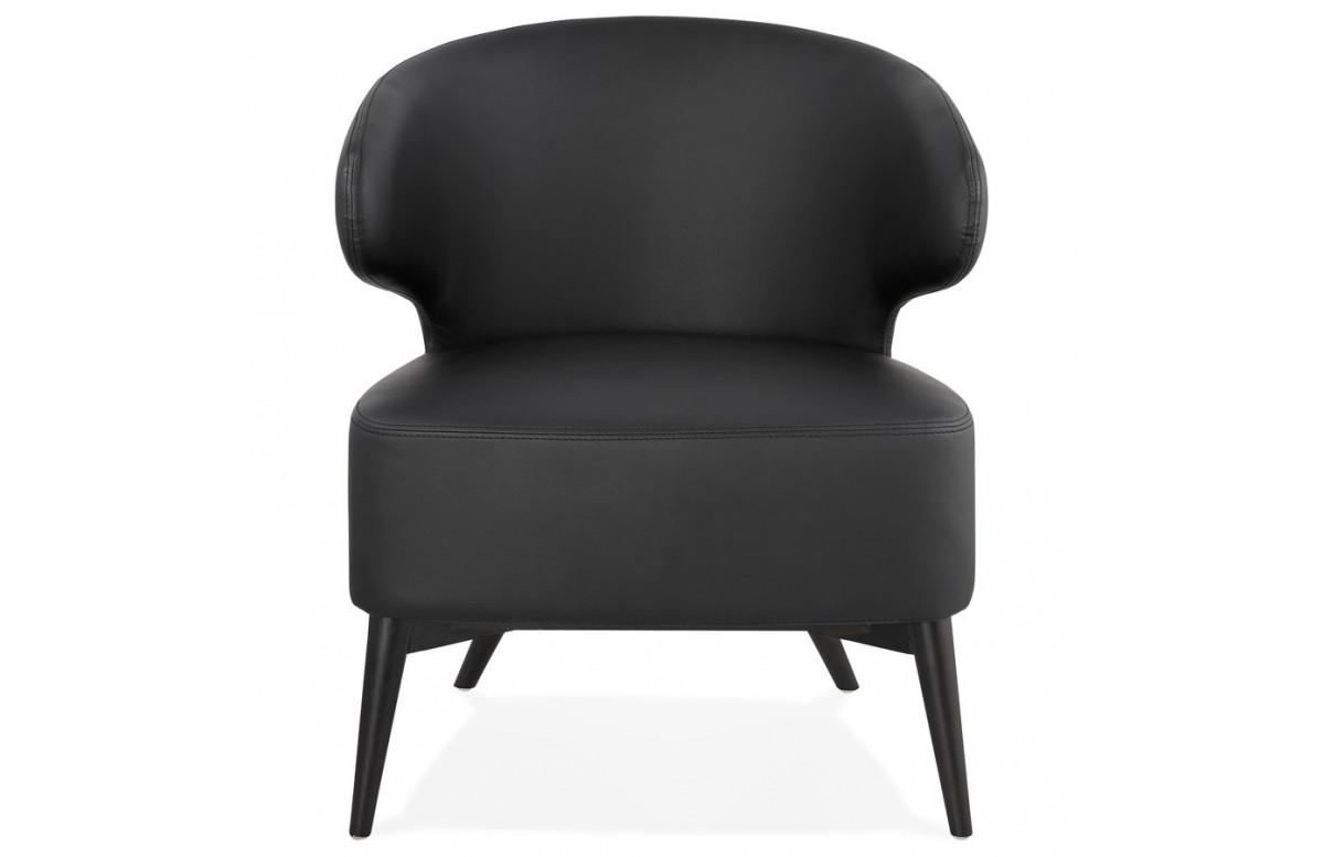 Fauteuil à oreilles habillé en noir - Michel