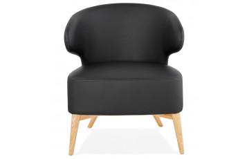 Fauteuil lounge pieds bois naturel - Michel