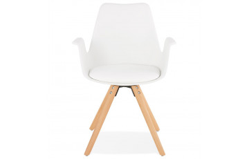 Chaise blanche avec accoudoirs - Skanor