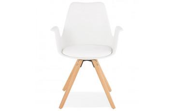 Chaise blanche avec accoudoirs - Skanor