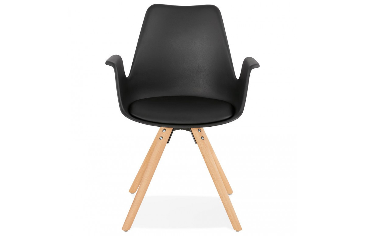 Chaise noire pieds bois naturel - Skanor