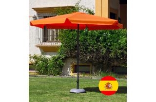 Parasol de jardin haut de gamme 3m droit à manivelle ORANGE Hevea