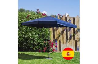 Parasol de jardin haut de gamme 3m droit à manivelle BLEU Hevea