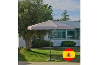 Parasol de jardin haut de gamme 3m droit à manivelle BEIGE Hevea