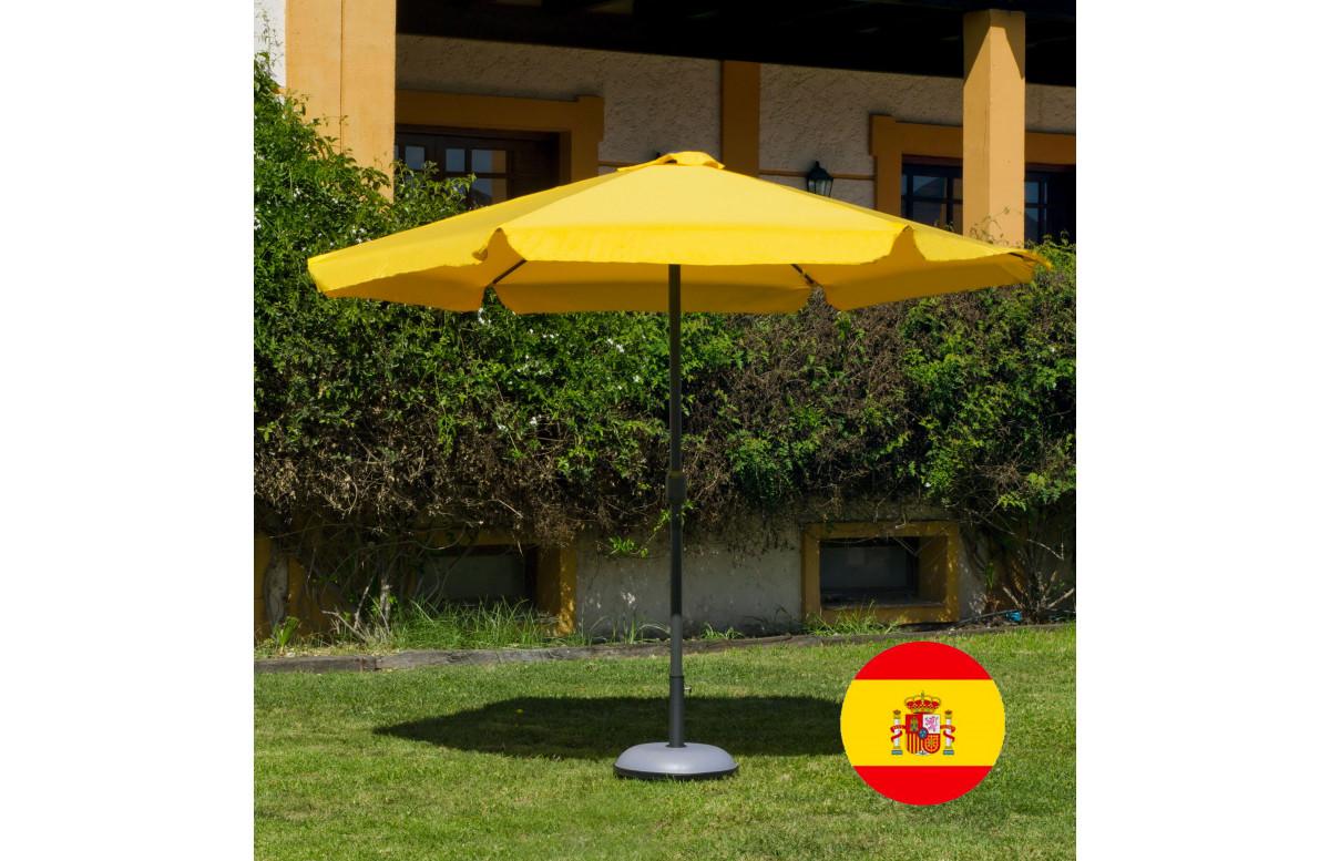 Parasol de jardin haut de gamme 3m droit à manivelle JAUNE Hevea