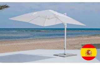 Parasol de jardin déporté inclinable 3x3 BLANC Hevea