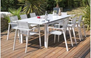 Ensemble table et chaises de jardin en aluminium DCB Garden 8 personnes blanc