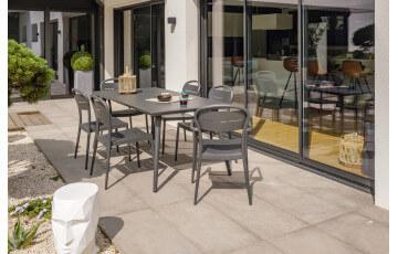 Ensemble table et chaises de jardin en aluminium 6 personnes City garden anthracite MADELIA