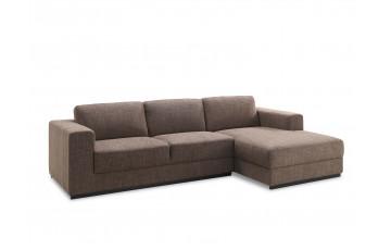 Canapé d'angle en tissu marron 4 personnes DELORM