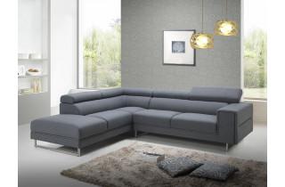 Canapé d'angle en tissu gris 5 personnes DELORM