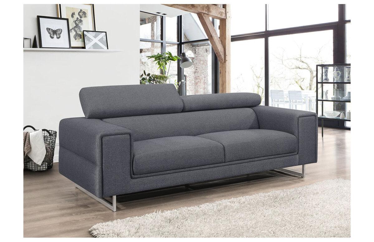 Canapé fixe en tissu gris 3 personnes DELORM