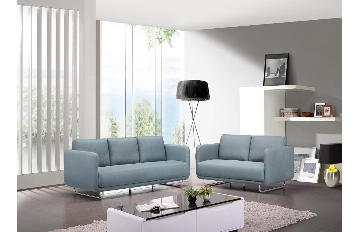 Canapé d'angle en tissu bleu 2 personnes DELORM