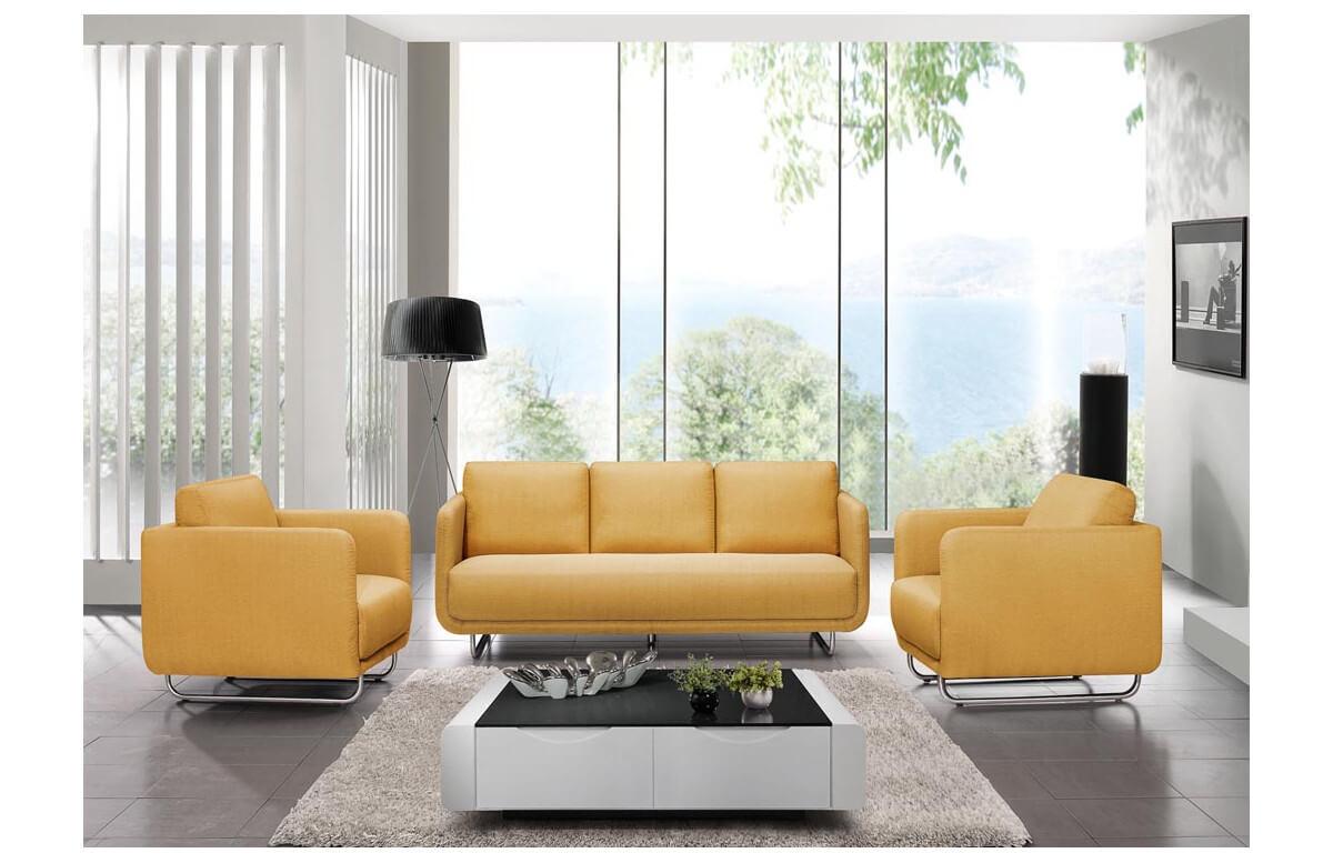 Canapé fixe en tissu jaune 2 personnes DELORM
