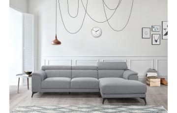Canapé d'angle en tissu gris 3 personnes DELORM