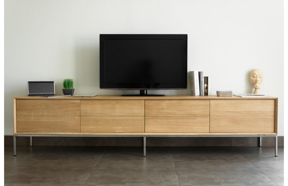 Meuble TV chêne naturel brut DELORM