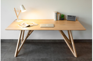 Table salle à manger en chêne naturel rustique 6 personnes DELORM