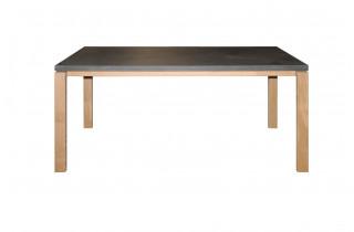 Table salle à manger noire imitation béton ciré 6 personnes DELORM