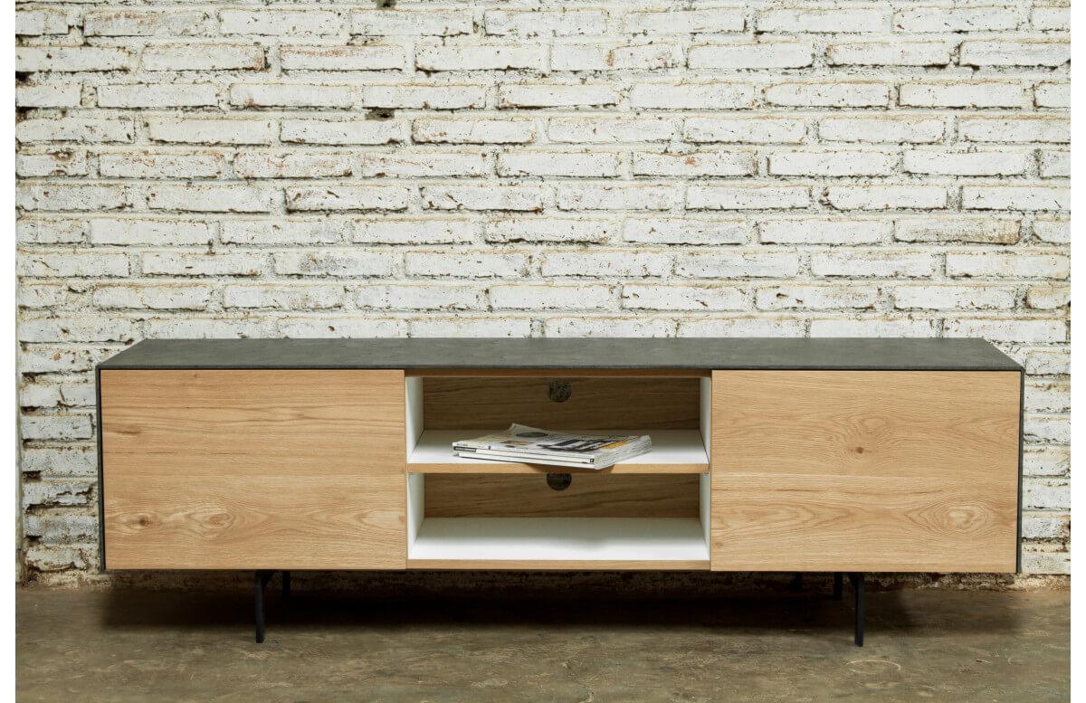 meuble tv chene naturel brut delorm