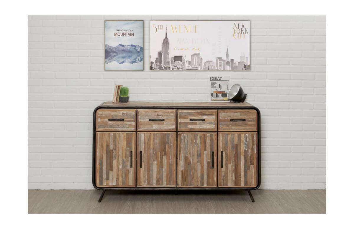 Buffet en bois brut recyclé DELORM