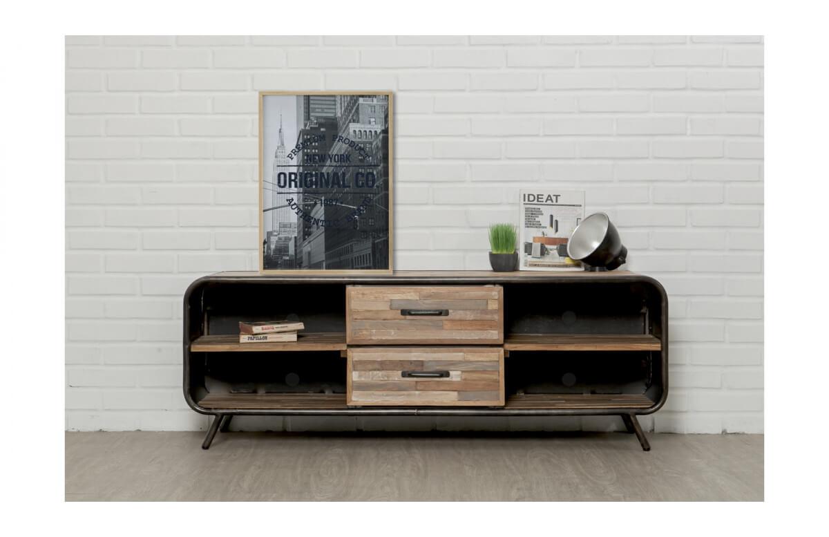 Meuble TV en bois brut recyclé DELORM