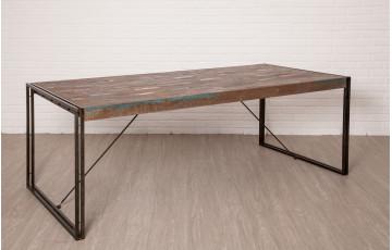 Table salle à manger en bois recyclé 8 personnes DELORM