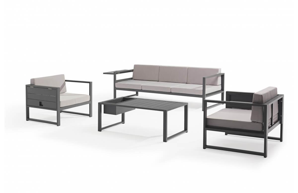 Salon de jardin design bas gris anthracite 5 personnes DELORM