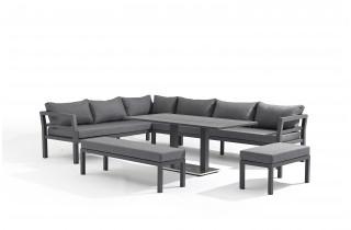 Salon de jardin design bas gris anthracite 10 personnes DELORM