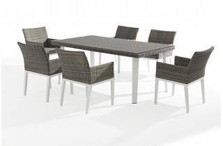 Ensemble table et chaises de jardin gris 6 personnes DELORM