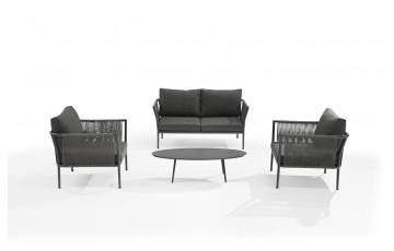 Salon de jardin design bas gris anthracite 4 personnes DELORM