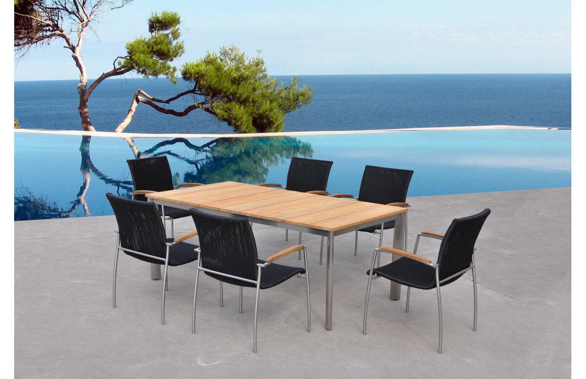 Ensemble table et chaises de jardin en teck 6 personnes DELORM